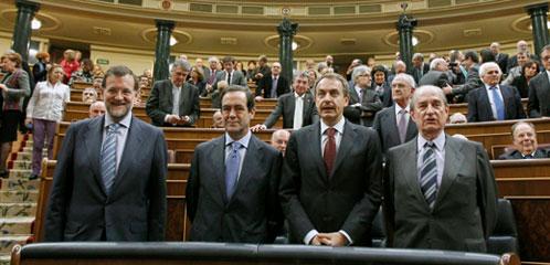 Rajoy y Zapatero en un pleno del Congreso