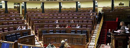 Imagen del hemiciclo del Congreso casi vacío (Efe).