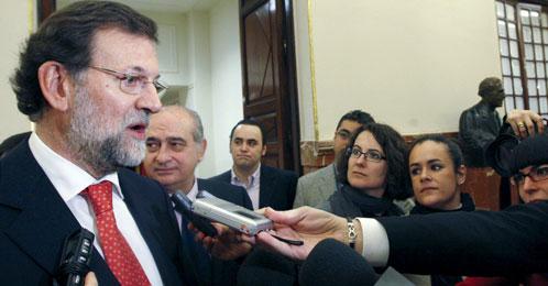 El presidente del PP, Mariano Rajoy, después de la sesión de control en el Congreso (Efe).
