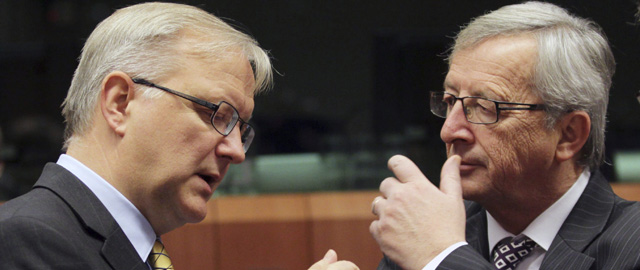 """El presidente del Eurogrupo, Jean""""Claude Juncker, y el vicepresidente económico de la CE, Olli Rehn (Efe"""