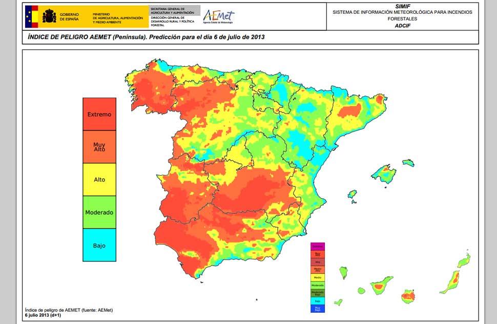 El mapa de riesgo de incendio forestal en espa a noticias - Humedad relativa espana ...
